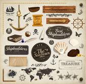 Scrapbooking kit: meeres urlaub elemente sammlung. schiff, karte, liegeplätze, muscheln mit perlen und holz banner gesetzt. alte papier textur und retro-rahmen. — Stockvektor