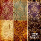 Seamless wallpaper set for vector retro background — Stock Vector