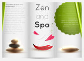Spa still life with zen stone and bamboo brochure design — Stock Vector
