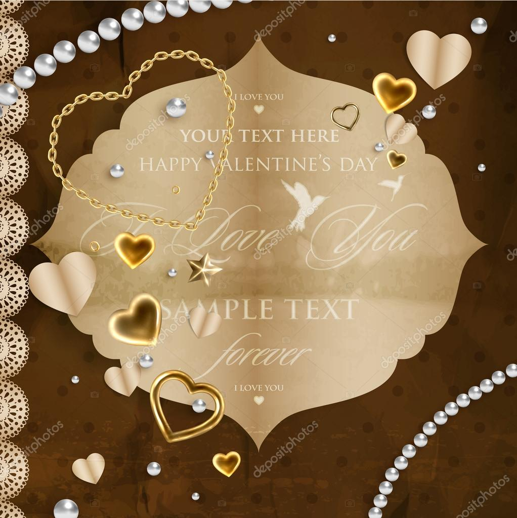 Vintage Valentines day design, scrapbook elements. — Stock Vector #18256121