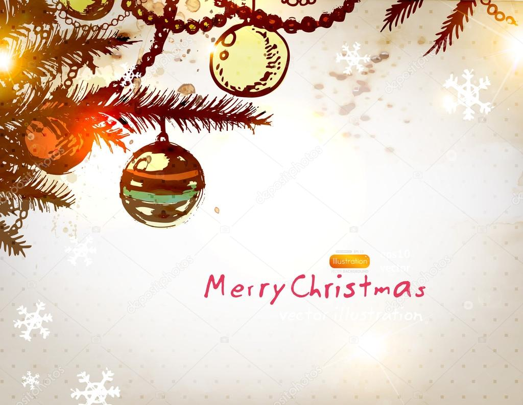 Christmas vintage background with retro hand drawn balls ...