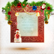 Christmas background vector image. Santa Claus and Snowman with gift. — Stok Vektör