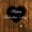 Vector hole in heart shape at wood background for Valentine day card design — Imagen vectorial