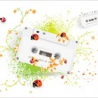 Abstract vector background with audiocassette. - Stock Vector