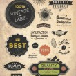 Vector set: calligraphic design elements and page decoration, Premium Quality, Seafarers and Satisfaction Guarantee Label collection with black grungy design and flowers — Stock Vector #18269833