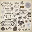 Vector set: calligraphic design elements and page decoration, Premium Quality, Seafarers and Satisfaction Guarantee Label collection with black grungy design and flowers — Stock Vector #18269875