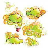 Vector spring illustration for summer design. set — Stock Vector