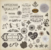 Vector set: calligraphic design elements and page decoration, Premium Quality, Seafarers and Satisfaction Guarantee Label collection with black grungy design and flowers — Stock Vector