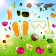 Vector illustration of Summer banner, Set of summer holidays elements: flip flops, cocktail, sunglasses, swim mask, flowers and water drops — Stock Vector
