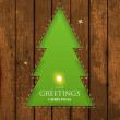 Stock Vector: Christmas tree hole in wood background