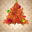 Royalty-Free Stock Vectorielle: Abstract christmas tree, flower ornament