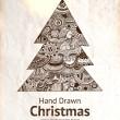 手绘制复古圣诞树 — 图库矢量图片
