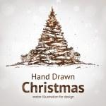 Hand drawn vintage christmas tree — Stock Vector
