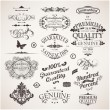 Vector set: calligraphic design elements, flowers and retro frames, Premium Quality and Satisfaction Guarantee vintage design Labels. Old style, vector collection. — Vecteur #18307031