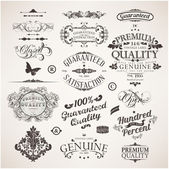 Vector set: calligraphic design elements, flowers and retro frames, Premium Quality and Satisfaction Guarantee vintage design Labels. Old style, vector collection. — Vecteur