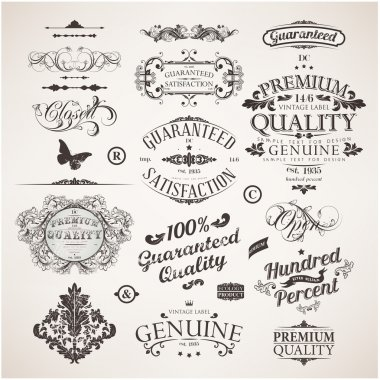 Vector set: calligraphic design elements, flowers and retro frames, Premium Quality and Satisfaction Guarantee vintage design Labels. Old style, vector collection.