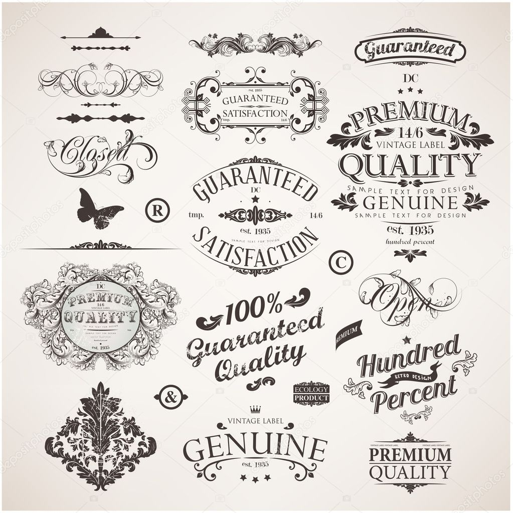 Vector set calligraphic design elements flowers and
