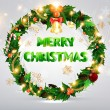 Royalty-Free Stock Imagen vectorial: Christmas background with dragon, Santa Claus, Snowman, gifts and Christmas balls for Holiday design