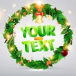 Christmas background with dragon, Santa Claus, Snowman, gifts and Christmas balls for Holiday design — Image vectorielle