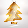 Golden christmas tree. Vector — Stock Vector