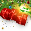 Royalty-Free Stock ベクターイメージ: Christmas background with dragon, Santa Claus, Snowman, gifts and Christmas balls for Holiday design