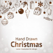 Christmas hand drawn fur tree for xmas design. With balls, toys and fir-cone. — Stockvector