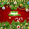 Christmas background with dragon, Santa Claus, Snowman, gifts and Christmas balls for Holiday design — Stockvector  #18317319
