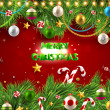Christmas background with dragon, Santa Claus, Snowman, gifts and Christmas balls for Holiday design - Stock Vector