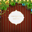 Christmas background with baubles and christmas tree — Векторная иллюстрация