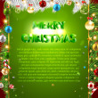 Christmas background with dragon, Santa Claus, Snowman, gifts and Christmas balls for Holiday design — Stock vektor
