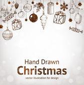 クリスマス手描きクリスマス デザインの毛皮ツリー。ボール、おもちゃ、fir コーン. — ストックベクタ