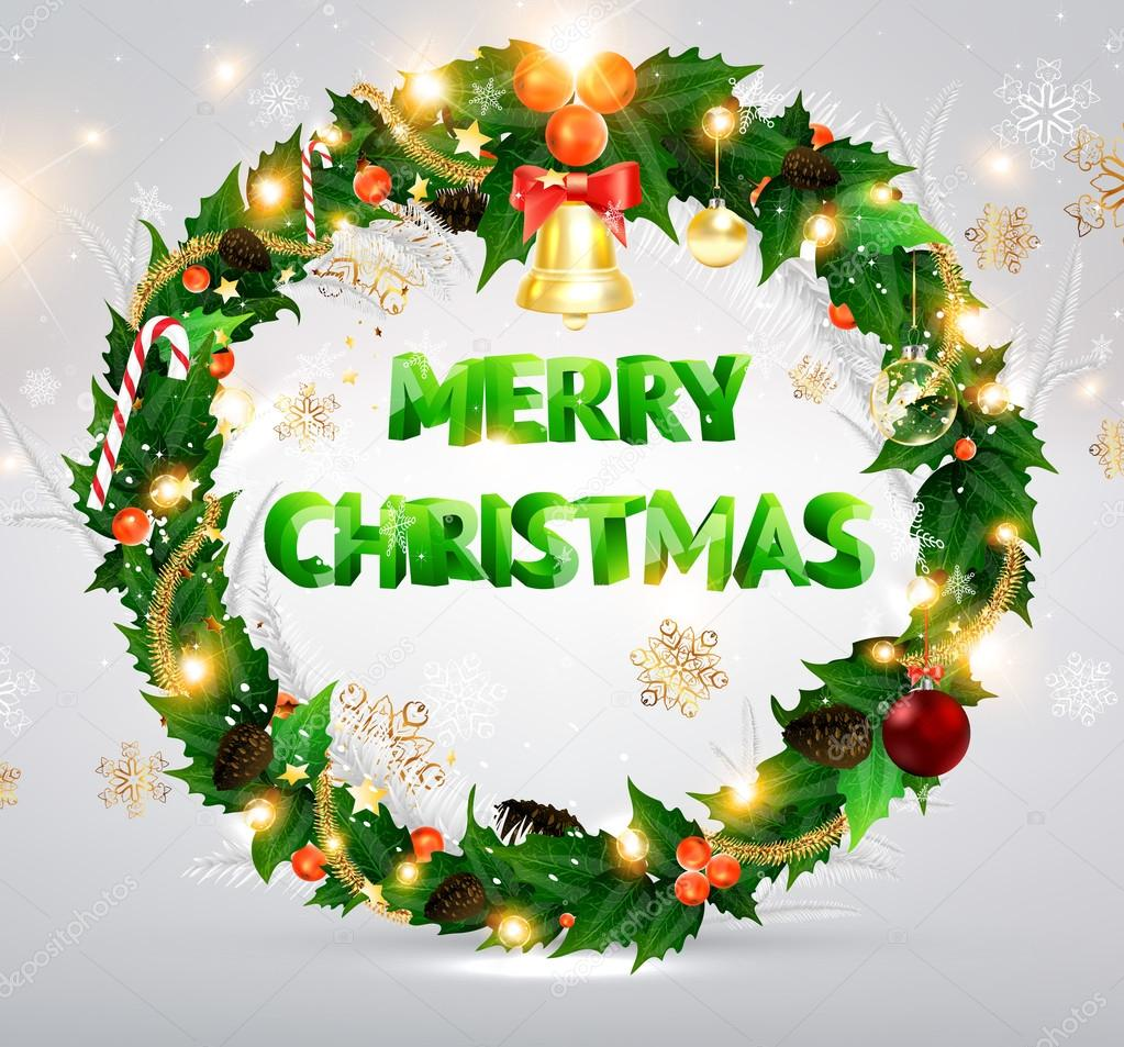 Christmas background with dragon, Santa Claus, Snowman, gifts and Christmas balls for Holiday design  Stock Vector #18316949