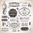 Wektor stockowy : Vector set calligraphic design elements, engraving flowers and retro frames, Premium Quality and Satisfaction Guarantee vintage design Labels Old style, vector collection.