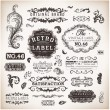 Stock vektor: Vector set calligraphic design elements, engraving flowers and retro frames, Premium Quality and Satisfaction Guarantee vintage design Labels Old style, vector collection.