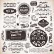 Vector set  calligraphic design elements, engraving flowers and retro frames, Premium Quality and Satisfaction Guarantee vintage design Labels  Old style, vector collection. — Stockvektor
