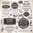 Vector set  calligraphic design elements, engraving flowers and retro frames, Premium Quality and Satisfaction Guarantee vintage design Labels  Old style, vector collection. — Imagen vectorial