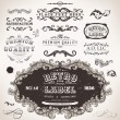 Vector set calligraphic design elements, engraving flowers and retro frames, Premium Quality and Satisfaction Guarantee vintage design Labels Old style, vector collection. — Stock Vector #18416603