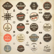 Vector set: calligraphic design elements and page decoration, Premium Quality and Seafarer with Shipbuilder Label collection with black grungy design  Old paper texture - Stock Vector