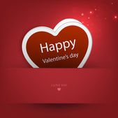 Heart from paper Valentines day card vector background — Stockvektor