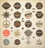 Vector set: calligraphic design elements and page decoration, Premium Quality and Seafarer with Shipbuilder Label collection with black grungy design Old paper texture — Stock Vector