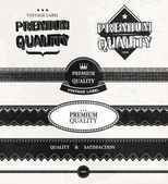 Set of Premium Quality and Guarantee Labels with retro vintage styled design, vector — Stock Vector