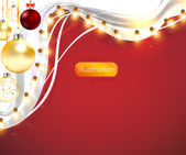 Red background with frame, christmas balls and lamp festive garland for holiday xmas design. — Stock Vector