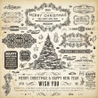 Christmas decoration collection  Set of calligraphic and typographic elements, frames, vintage labels, ribbons, borders, holly berries, fir-tree branches and balls. All for holiday invitation design. — Stock Vector