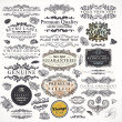 Vector set calligraphic design elements, engraving flowers and retro frames, Premium Quality and Satisfaction Guarantee vintage design Labels Old style, vector collection. — Stock Vector