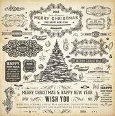Natal decoração coleção conjunto de elementos tipográficos e caligráficos, quadros, vintage rótulos, fitas, fronteiras, bagas de azevinho, pinheiro ramos e bolas. tudo para design de convite de férias. — Vetorial Stock