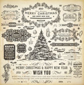 Noel dekorasyon koleksiyonu kümesi kaligrafi ve tipografik öğelerin, çerçevelerini, vintage etiketleri, kurdeleler, sınırları, holly karpuzu köknar ağacı dalları ve toplar. tüm tatil davetiye tasarımı için. — Stok Vektör