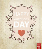 Vector floral frame with hearts for Valentines day design — Vector de stock