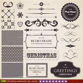 Natale decorazione insieme insieme di elementi calligrafici e tipografici, cornici, vintage etichette, nastri, confini, bacche di agrifoglio, abete, rami e le palle. tutto per il disegno invito vacanza. — Vettoriale Stock