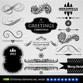 Conjunto de elementos tipográficos y caligráficos, marcos, etiquetas vintage, cintas, fronteras, bayas de acebo de navidad decoración colección, abeto ramas y bolas. todo para el diseño de la invitación de vacaciones. — Vector de stock