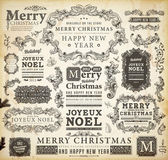 Christmas decoration collection Set of calligraphic and typographic elements, frames, vintage labels, ribbons, borders, holly berries, fir-tree branches and balls. All for holiday invitation design. — Stockvektor